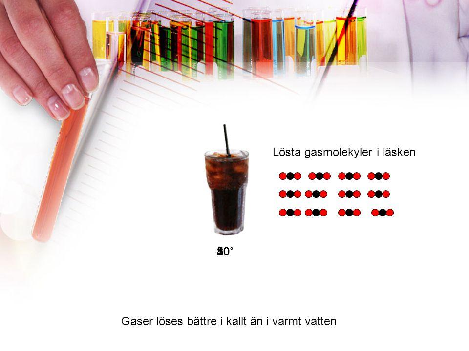 »Lösningar varmt/kallt Antal bitar i bägaren 20˚60˚ Mättad Sockerbitar I varmt vatten kan man lösa mer fast ämne
