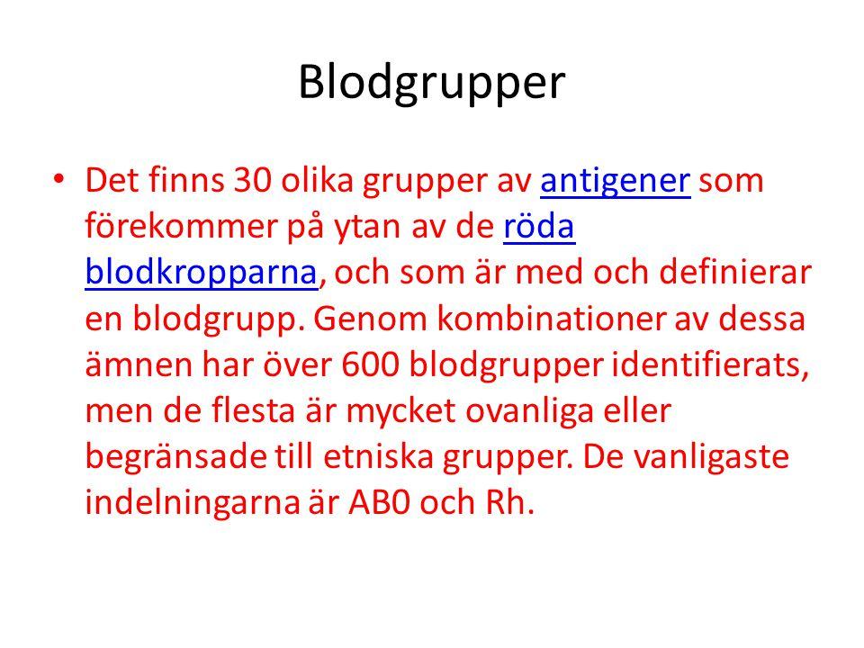 Blodgrupper Det finns 30 olika grupper av antigener som förekommer på ytan av de röda blodkropparna, och som är med och definierar en blodgrupp.