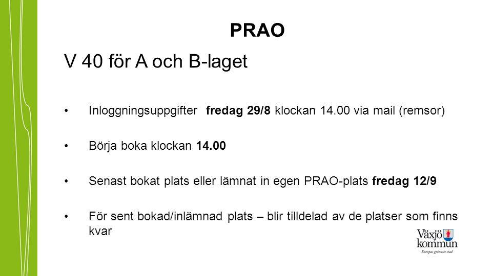 PRAO V 40 för A och B-laget Inloggningsuppgifter fredag 29/8 klockan 14.00 via mail (remsor) Börja boka klockan 14.00 Senast bokat plats eller lämnat