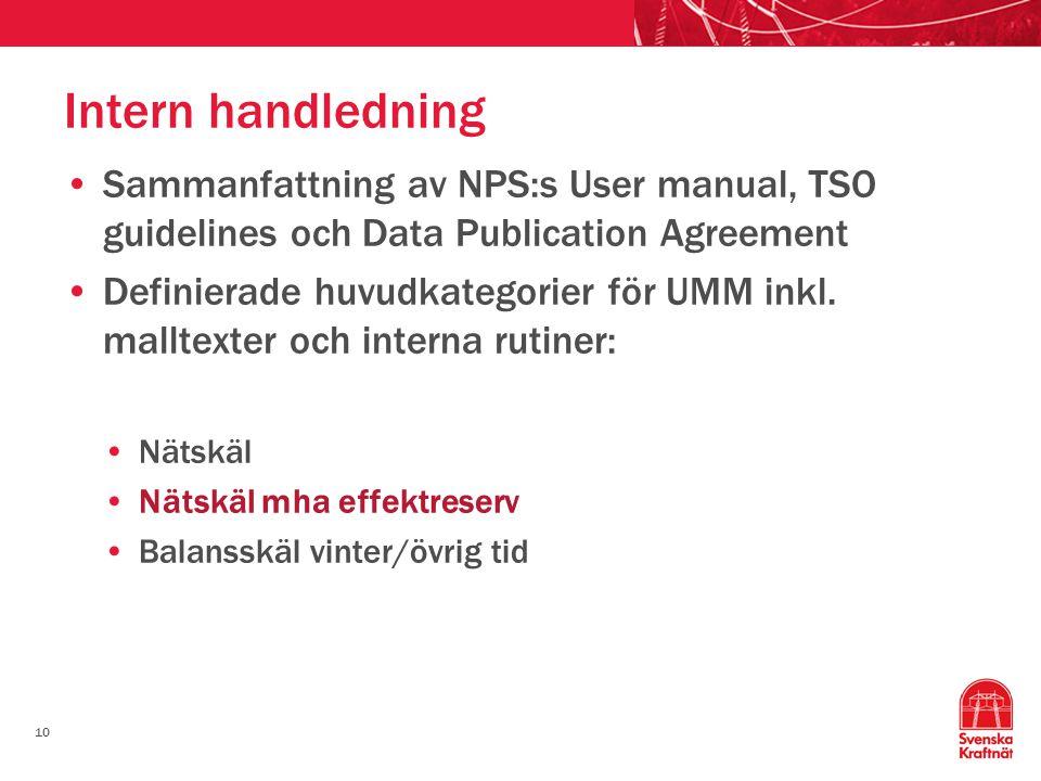 10 Intern handledning Sammanfattning av NPS:s User manual, TSO guidelines och Data Publication Agreement Definierade huvudkategorier för UMM inkl. mal