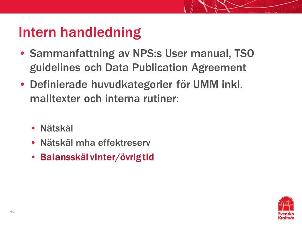 12 Intern handledning Sammanfattning av NPS:s User manual, TSO guidelines och Data Publication Agreement Definierade huvudkategorier för UMM inkl. mal