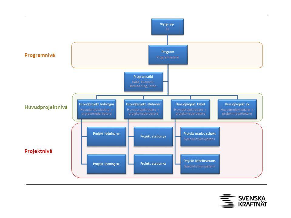 Programindelning >Projektprogram: >Sydvästlänken (befintligt) >Gotland (befintligt) >Stockholms ström (befintligt) >Nordbalt (befintligt) >Östra Svealand (nytt) >Områdesprogram: >Nord (nytt) >Mitt (nytt) >Syd (nytt)