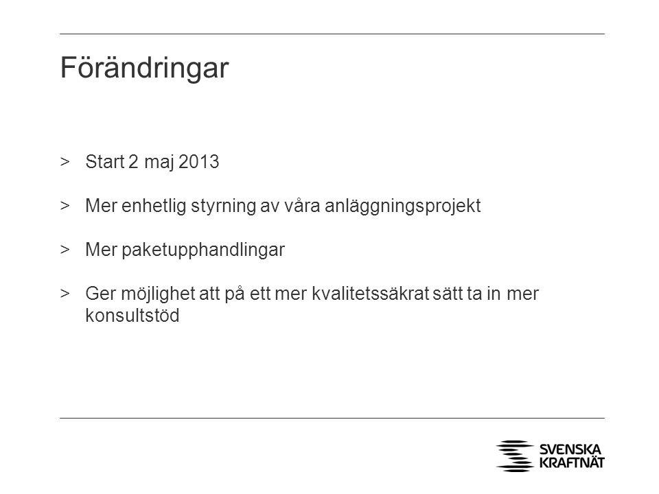 Förändringar >Start 2 maj 2013 >Mer enhetlig styrning av våra anläggningsprojekt >Mer paketupphandlingar >Ger möjlighet att på ett mer kvalitetssäkrat