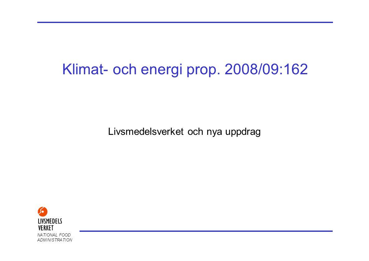 NATIONAL FOOD ADMINISTRATION Klimat- och energi prop. 2008/09:162 Livsmedelsverket och nya uppdrag