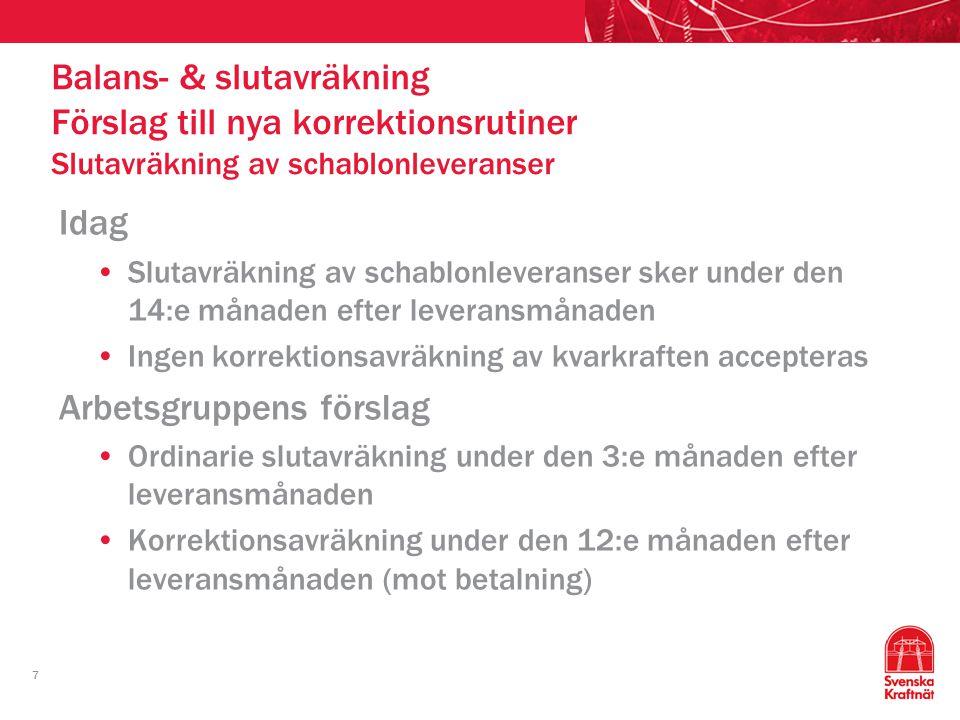 7 Idag Slutavräkning av schablonleveranser sker under den 14:e månaden efter leveransmånaden Ingen korrektionsavräkning av kvarkraften accepteras Arbe