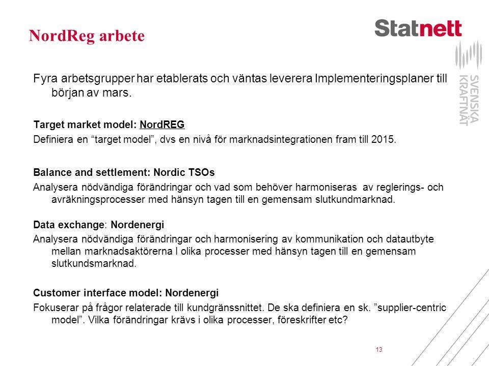 13 NordReg arbete Fyra arbetsgrupper har etablerats och väntas leverera Implementeringsplaner till början av mars. Target market model: NordREG Defini