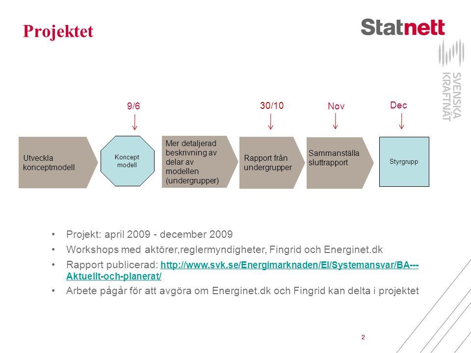 2 Sammanställa sluttrapport Projektet Utveckla konceptmodell Koncept modell Mer detaljerad beskrivning av delar av modellen (undergrupper) Styrgrupp 3