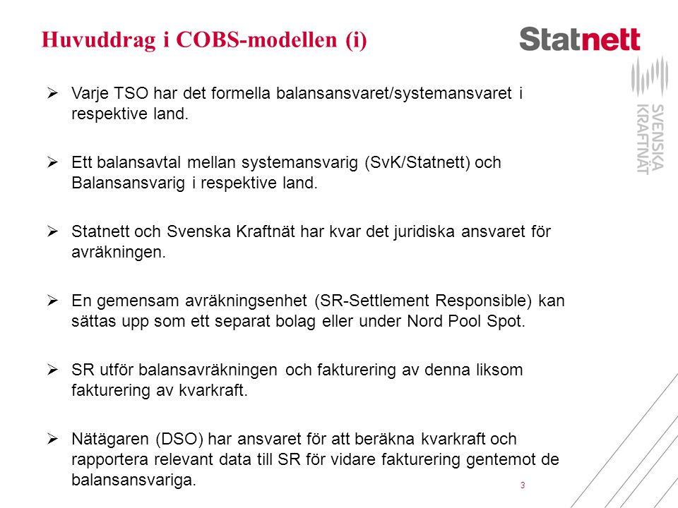3 Huvuddrag i COBS-modellen (i)  Varje TSO har det formella balansansvaret/systemansvaret i respektive land.  Ett balansavtal mellan systemansvarig