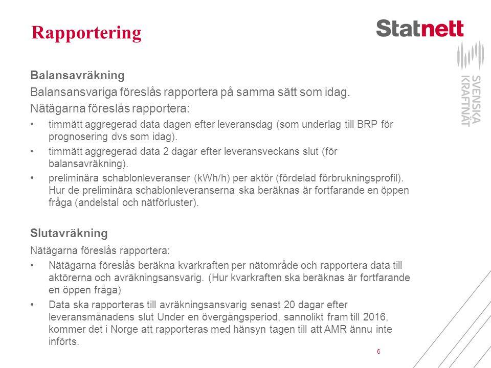 6 Rapportering Balansavräkning Balansansvariga föreslås rapportera på samma sätt som idag. Nätägarna föreslås rapportera: timmätt aggregerad data dage
