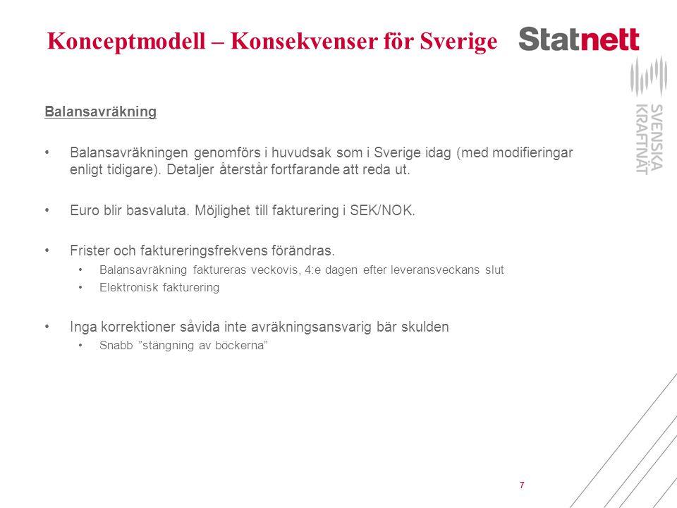 7 Konceptmodell – Konsekvenser för Sverige Balansavräkning Balansavräkningen genomförs i huvudsak som i Sverige idag (med modifieringar enligt tidigar