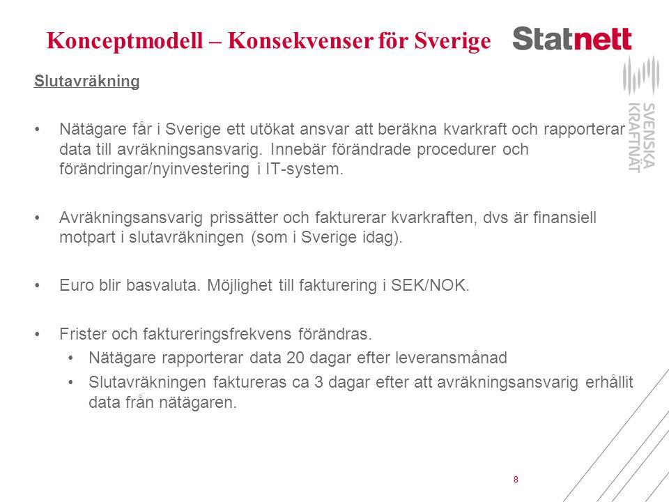 8 Slutavräkning Nätägare får i Sverige ett utökat ansvar att beräkna kvarkraft och rapporterar data till avräkningsansvarig. Innebär förändrade proced