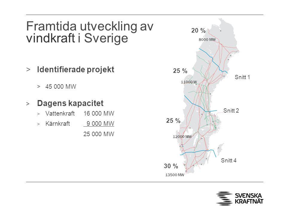 Framtida utveckling av vindkraft i Sverige >Identifierade projekt >45 000 MW > Dagens kapacitet > Vattenkraft 16 000 MW > Kärnkraft 9 000 MW 25 000 MW 25 % 30 % 20 % Snitt 2 Snitt 1 Snitt 4 8000 MW 11000 W 12000 MW 13500 MW