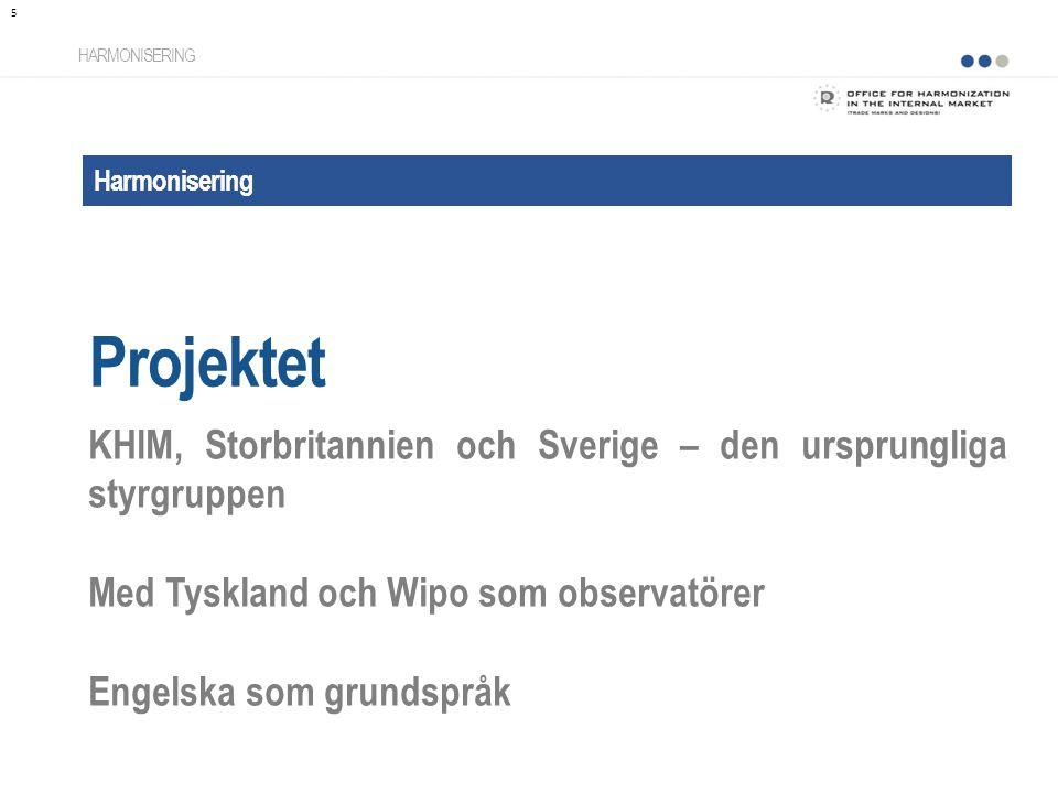 Harmonisering Projektet HARMONISERING KHIM, Storbritannien och Sverige – den ursprungliga styrgruppen Med Tyskland och Wipo som observatörer Engelska som grundspråk 5