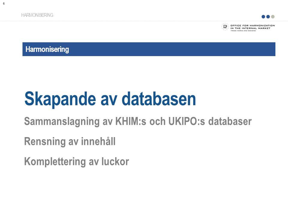 Harmonisering Skapande av databasen HARMONISERING Sammanslagning av KHIM:s och UKIPO:s databaser Rensning av innehåll Komplettering av luckor 6