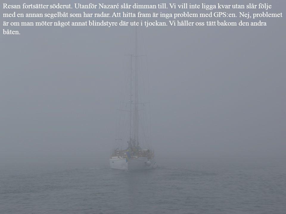 Resan fortsätter söderut. Utanför Nazaré slår dimman till.