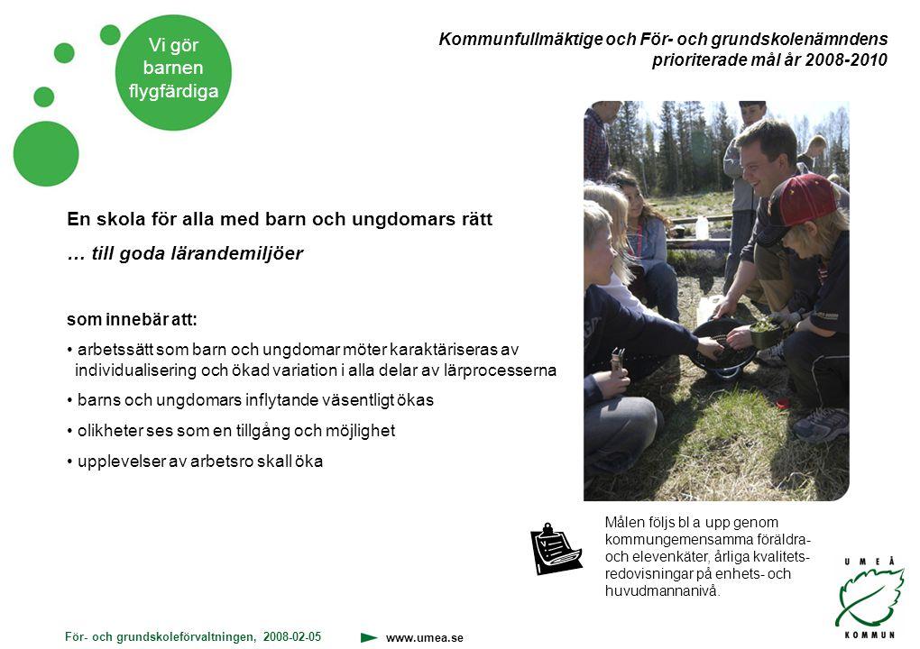 För- och grundskoleförvaltningen, 2008-02-05 www.umea.se Vi gör barnen flygfärdiga En skola för alla med barn och ungdomars rätt … till goda lärandemi