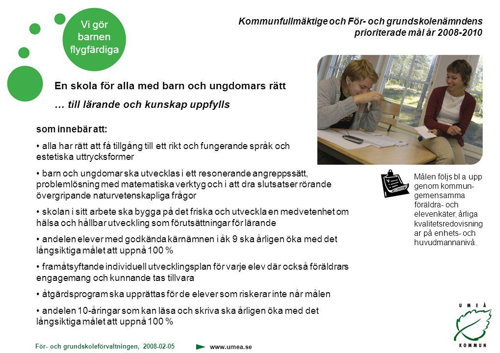 För- och grundskoleförvaltningen, 2008-02-05 www.umea.se Vi gör barnen flygfärdiga En skola för alla med barn och ungdomars rätt … till lärande och ku