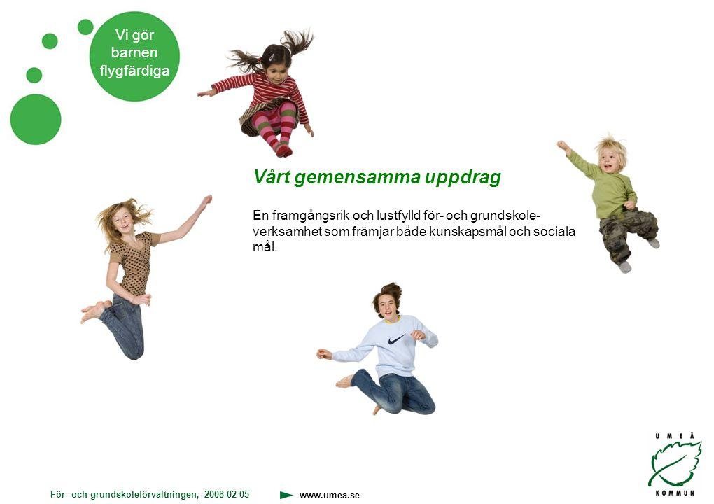 För- och grundskoleförvaltningen, 2008-02-05 www.umea.se Vi gör barnen flygfärdiga Vårt gemensamma uppdrag En framgångsrik och lustfylld för- och grun