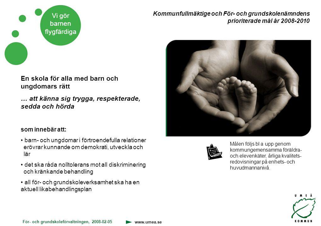 För- och grundskoleförvaltningen, 2008-02-05 www.umea.se Vi gör barnen flygfärdiga Skolplikten för barn 7-16 år och ska ge alla en likvärdig utbildning.
