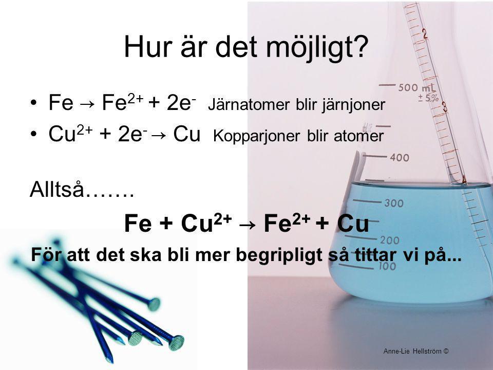 Hur är det möjligt? Fe → Fe 2+ + 2e - Järnatomer blir järnjoner Cu 2+ + 2e - → Cu Kopparjoner blir atomer Alltså……. Fe + Cu 2+ → Fe 2+ + Cu För att de