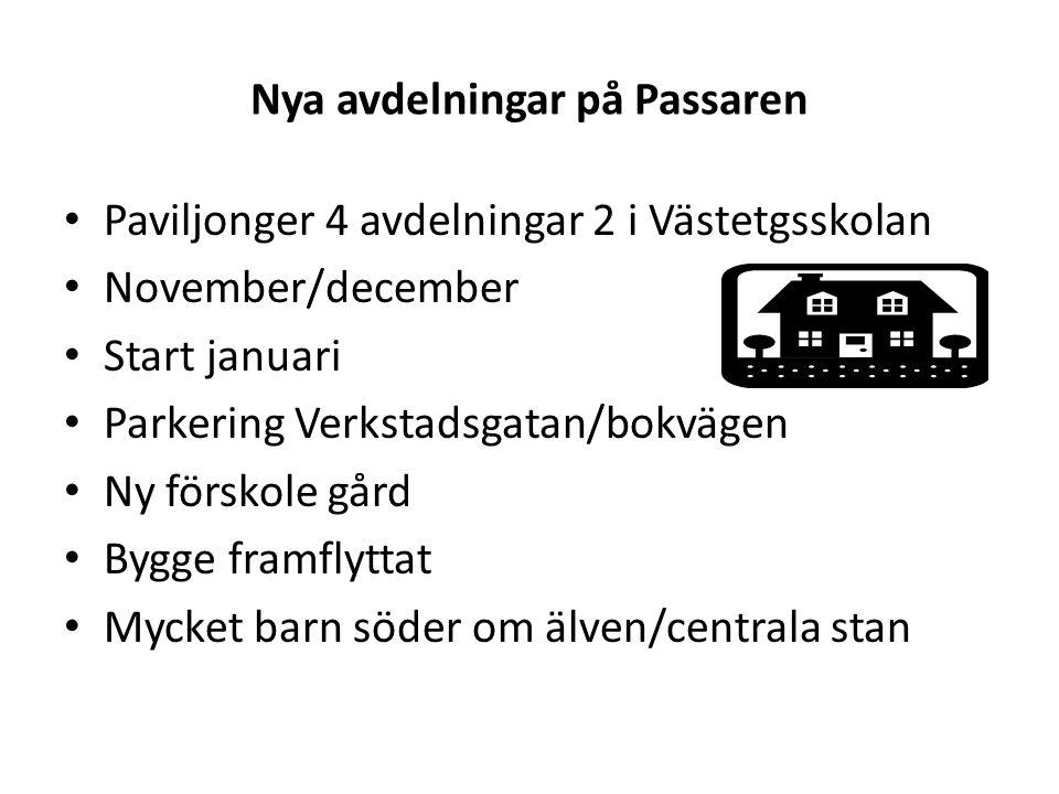 Nya avdelningar på Passaren Paviljonger 4 avdelningar 2 i Västetgsskolan November/december Start januari Parkering Verkstadsgatan/bokvägen Ny förskole