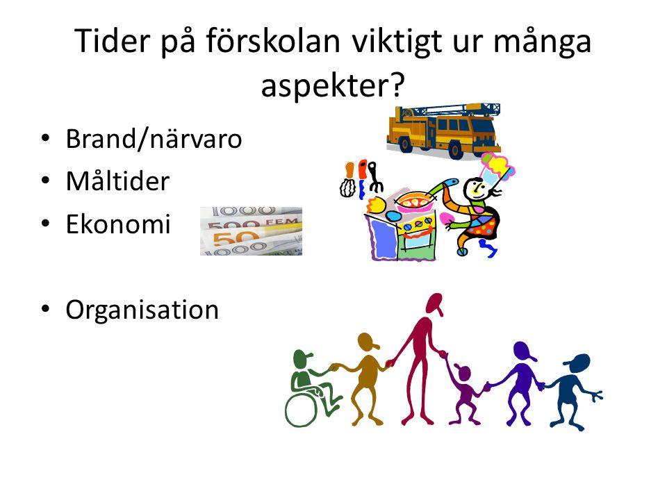 Tider på förskolan viktigt ur många aspekter? Brand/närvaro Måltider Ekonomi Organisation
