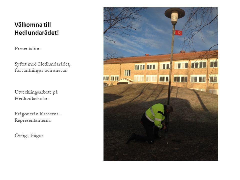 Välkomna till Hedlundarådet! Presentation Syftet med Hedlundarådet, förväntningar och ansvar Utvecklingsarbete på Hedlundaskolan Frågor från klasserna
