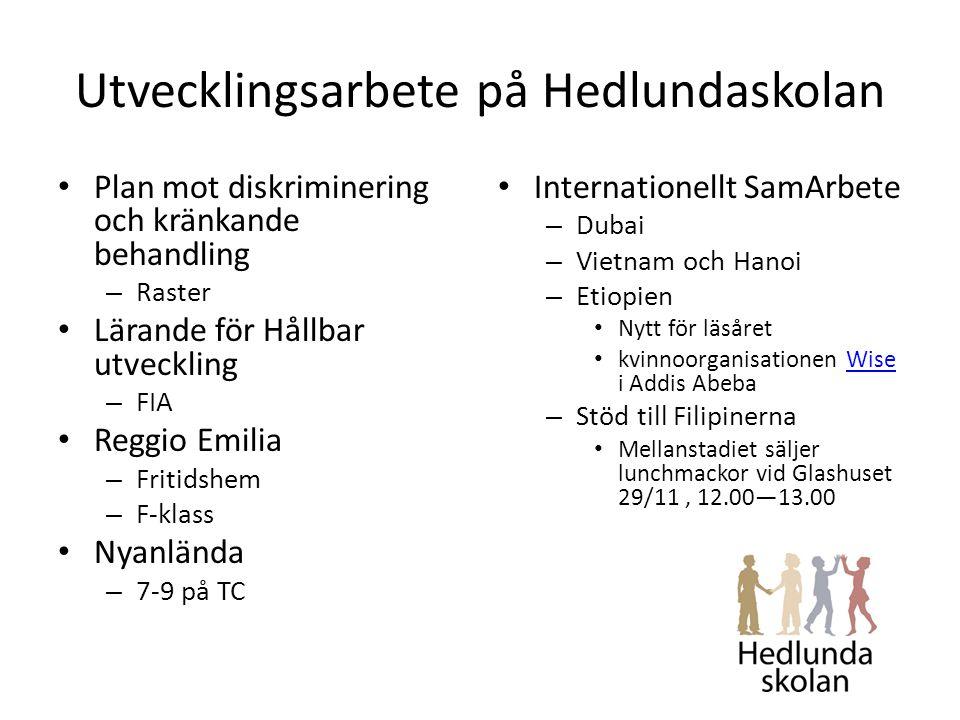 Utvecklingsarbete på Hedlundaskolan Plan mot diskriminering och kränkande behandling – Raster Lärande för Hållbar utveckling – FIA Reggio Emilia – Fritidshem – F-klass Nyanlända – 7-9 på TC Internationellt SamArbete – Dubai – Vietnam och Hanoi – Etiopien Nytt för läsåret kvinnoorganisationen Wise i Addis AbebaWise – Stöd till Filipinerna Mellanstadiet säljer lunchmackor vid Glashuset 29/11, 12.00—13.00