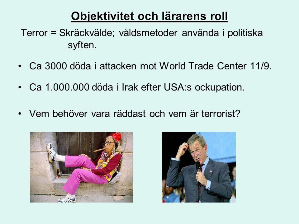 Objektivitet och lärarens roll Terror = Skräckvälde; våldsmetoder använda i politiska syften. Ca 3000 döda i attacken mot World Trade Center 11/9. Ca