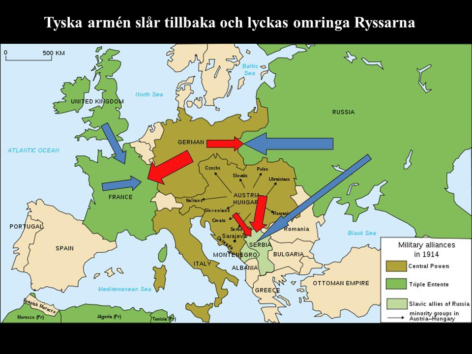Tyska armén slår tillbaka och lyckas omringa Ryssarna