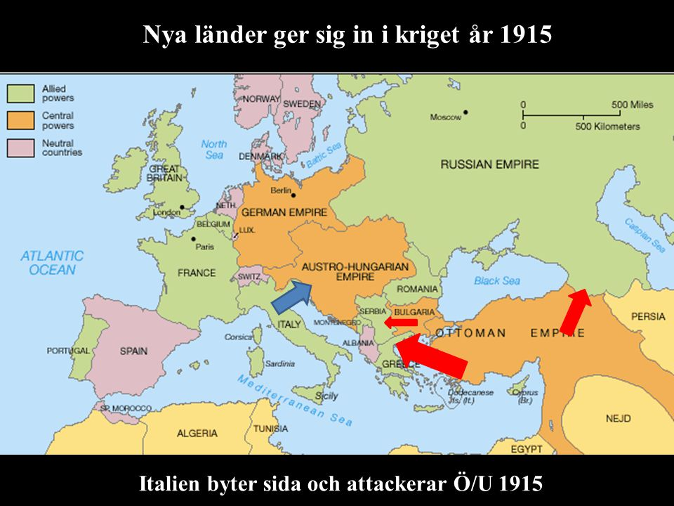 Nya länder ger sig in i kriget år 1915 Italien byter sida och attackerar Ö/U 1915