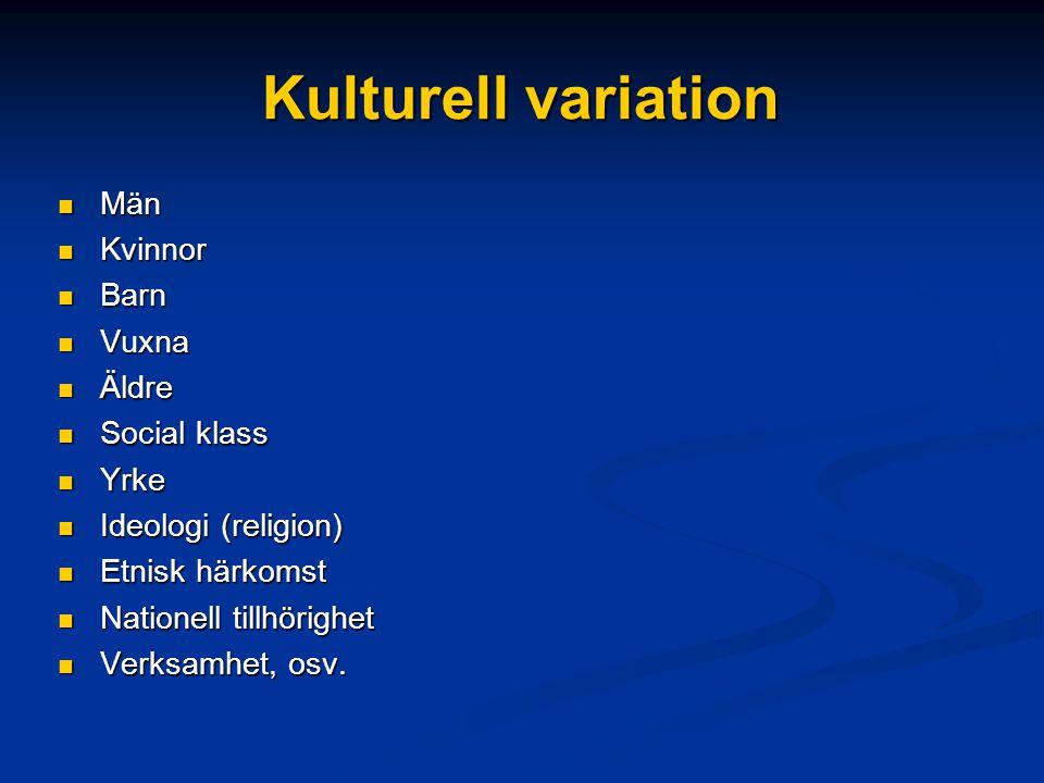 Kulturell variation Män Män Kvinnor Kvinnor Barn Barn Vuxna Vuxna Äldre Äldre Social klass Social klass Yrke Yrke Ideologi (religion) Ideologi (religi