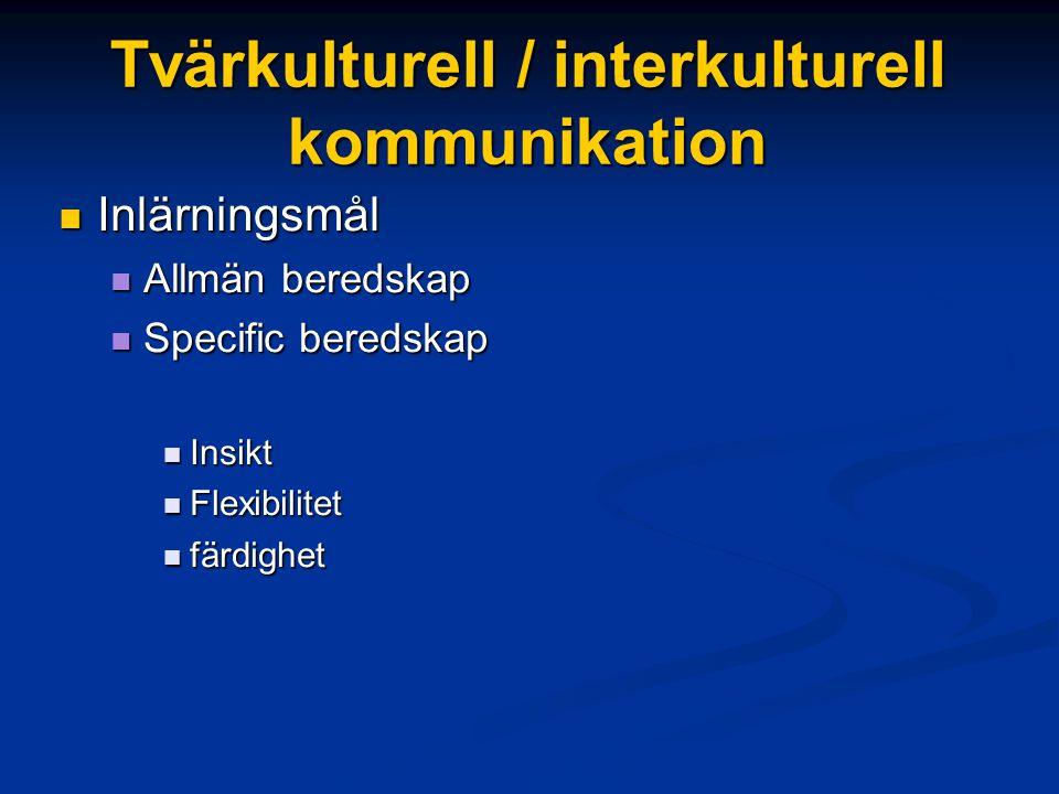 Tvärkulturell / interkulturell kommunikation Inlärningsmål Inlärningsmål Allmän beredskap Allmän beredskap Specific beredskap Specific beredskap Insik