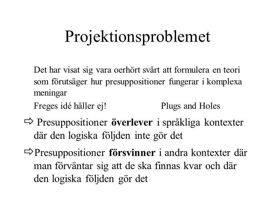 Projektionsproblemet Det har visat sig vara oerhört svårt att formulera en teori som förutsäger hur presuppositioner fungerar i komplexa meningar Freg