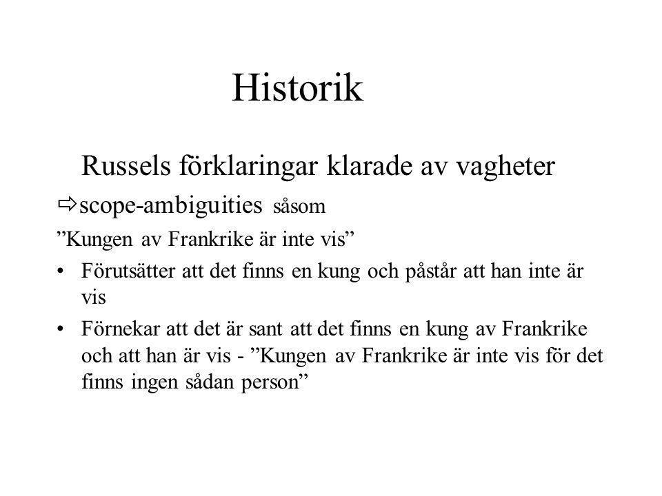 """Historik Russels förklaringar klarade av vagheter  scope-ambiguities såsom """"Kungen av Frankrike är inte vis"""" Förutsätter att det finns en kung och på"""