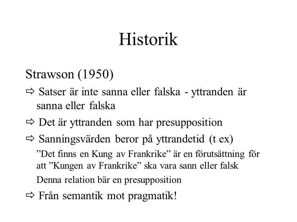 Historik Strawson (1950)  Satser är inte sanna eller falska - yttranden är sanna eller falska  Det är yttranden som har presupposition  Sanningsvär