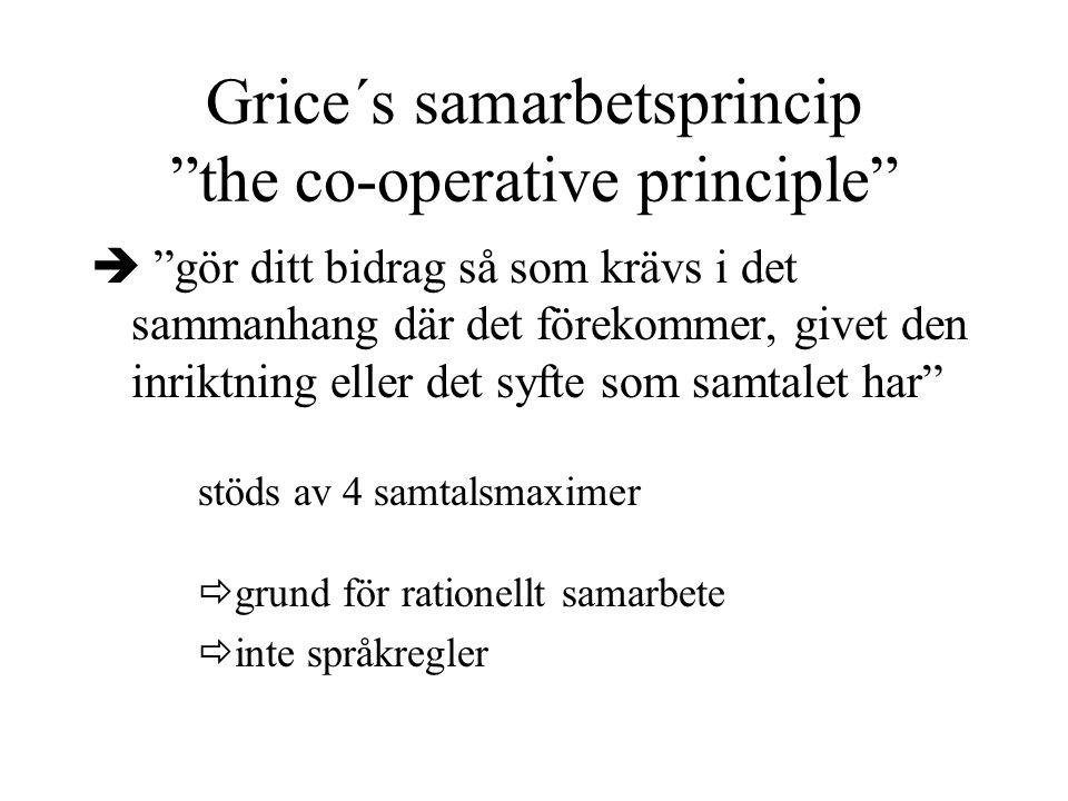 """Grice´s samarbetsprincip """"the co-operative principle""""  """"gör ditt bidrag så som krävs i det sammanhang där det förekommer, givet den inriktning eller"""