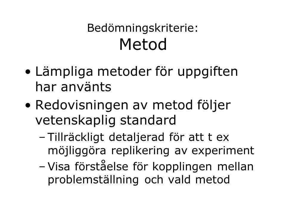 Bedömningskriterie: Metod Lämpliga metoder för uppgiften har använts Redovisningen av metod följer vetenskaplig standard –Tillräckligt detaljerad för