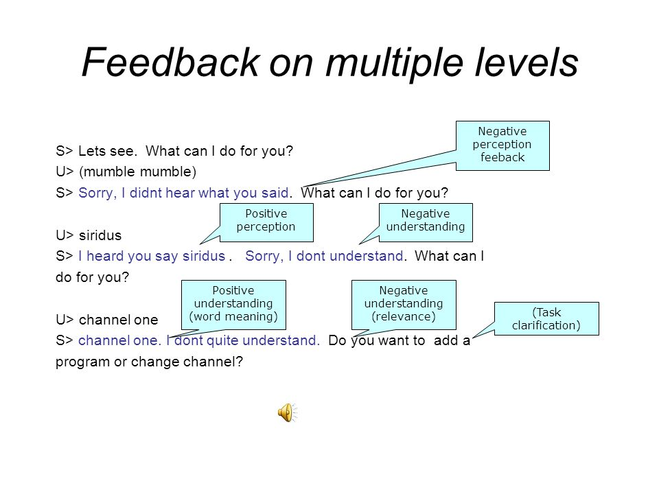 Feedback on multiple levels S> Lets see.What can I do for you.