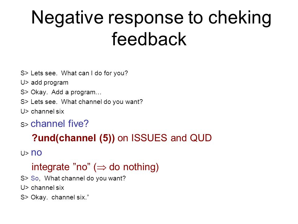 Negative response to cheking feedback S> Lets see. What can I do for you? U> add program S> Okay. Add a program… S> Lets see. What channel do you want
