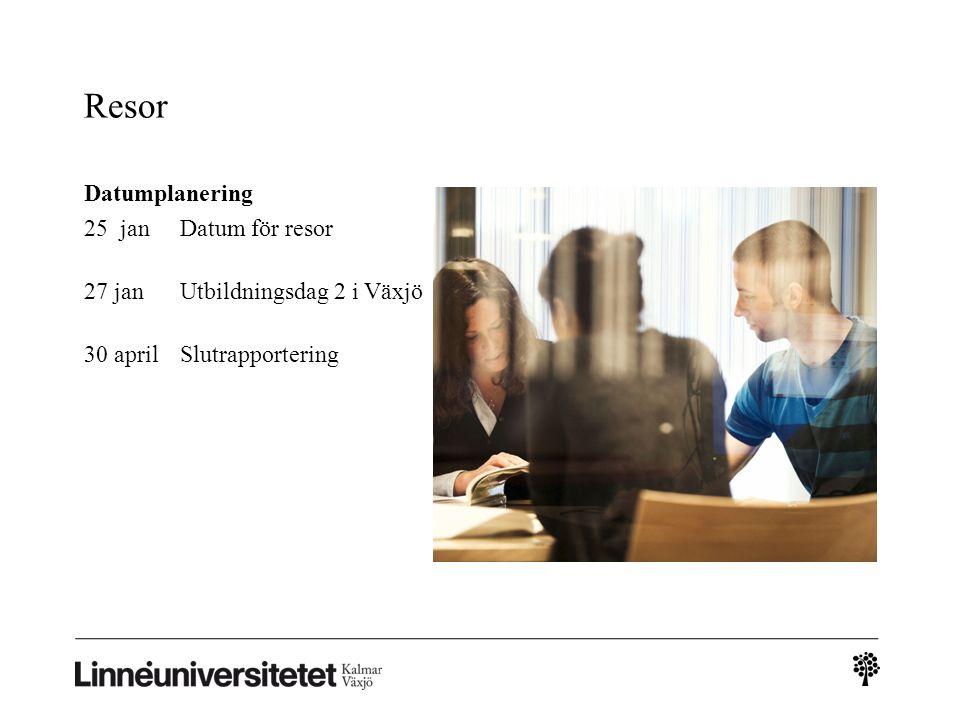 Resor Datumplanering 25 janDatum för resor 27 janUtbildningsdag 2 i Växjö 30 aprilSlutrapportering