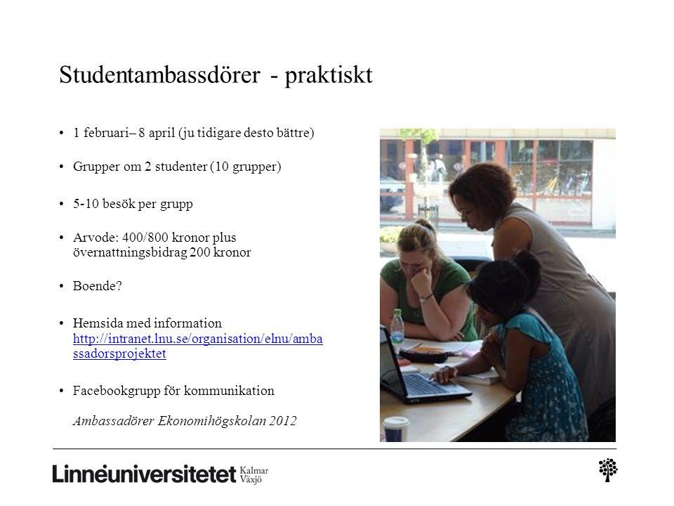 Studentambassdörer - praktiskt 1 februari– 8 april (ju tidigare desto bättre) Grupper om 2 studenter (10 grupper) 5-10 besök per grupp Arvode: 400/800 kronor plus övernattningsbidrag 200 kronor Boende.