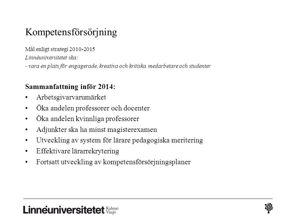 Kompetensförsörjning Mål enligt strategi 2010-2015 Linnéuniversitetet ska: - vara en plats för engagerade, kreativa och kritiska medarbetare och stude