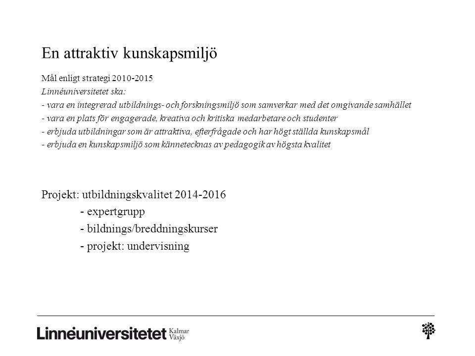 En attraktiv kunskapsmiljö Mål enligt strategi 2010-2015 Linnéuniversitetet ska: - vara en integrerad utbildnings- och forskningsmiljö som samverkar m