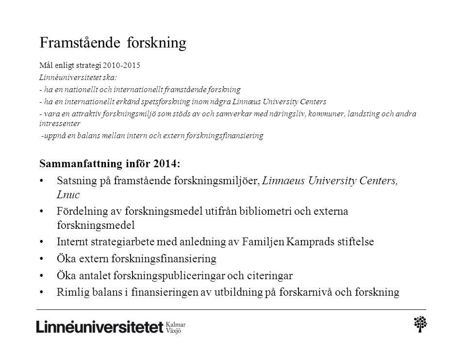 Framstående forskning Mål enligt strategi 2010-2015 Linnéuniversitetet ska: - ha en nationellt och internationellt framstående forskning - ha en inter