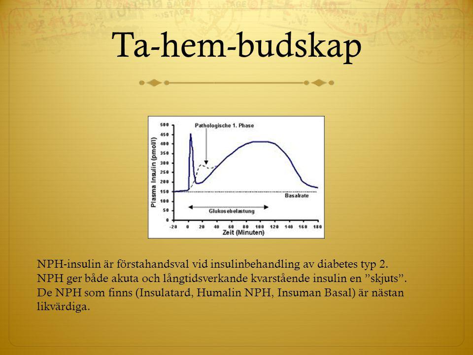"""Ta-hem-budskap NPH-insulin är förstahandsval vid insulinbehandling av diabetes typ 2. NPH ger både akuta och långtidsverkande kvarstående insulin en """""""