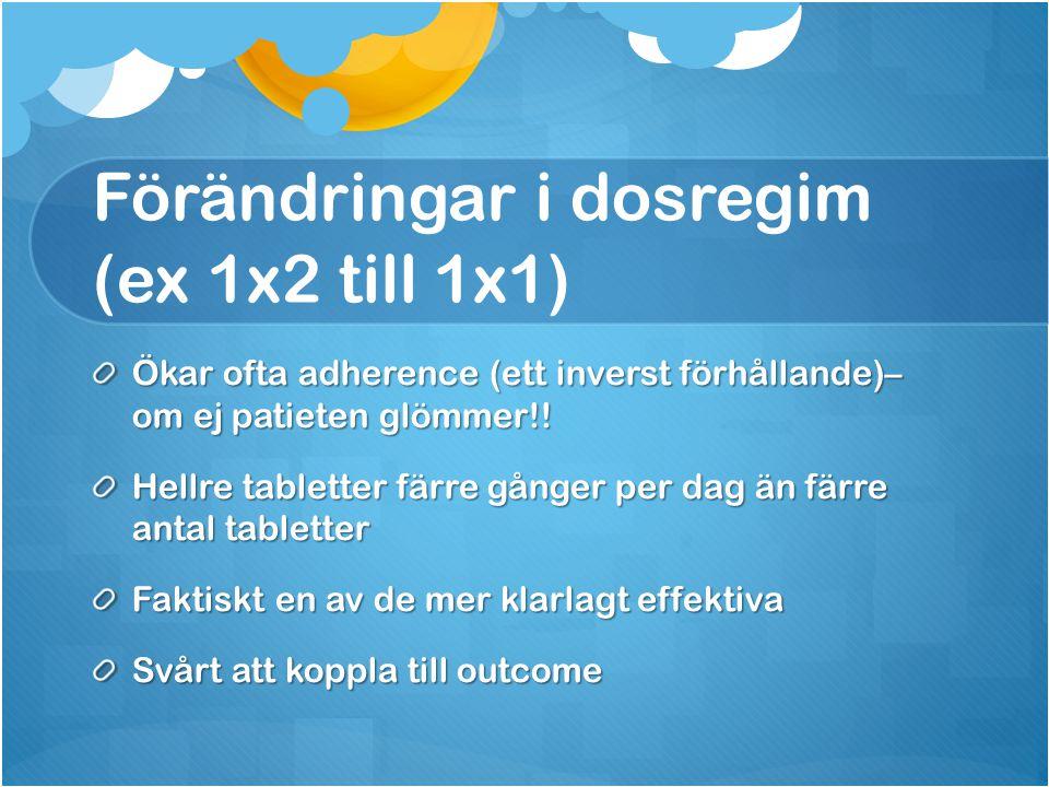 Förändringar i dosregim (ex 1x2 till 1x1) Ökar ofta adherence (ett inverst förhållande)– om ej patieten glömmer!! Hellre tabletter färre gånger per da