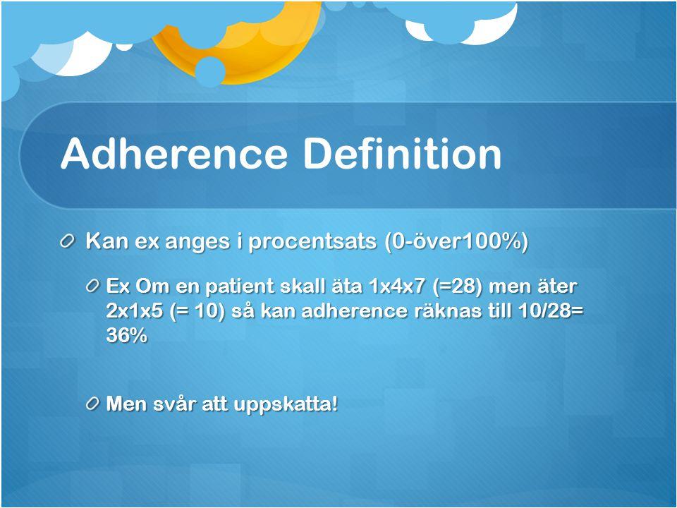 Adherence Definition Kan ex anges i procentsats (0-över100%) Ex Om en patient skall äta 1x4x7 (=28) men äter 2x1x5 (= 10) så kan adherence räknas till