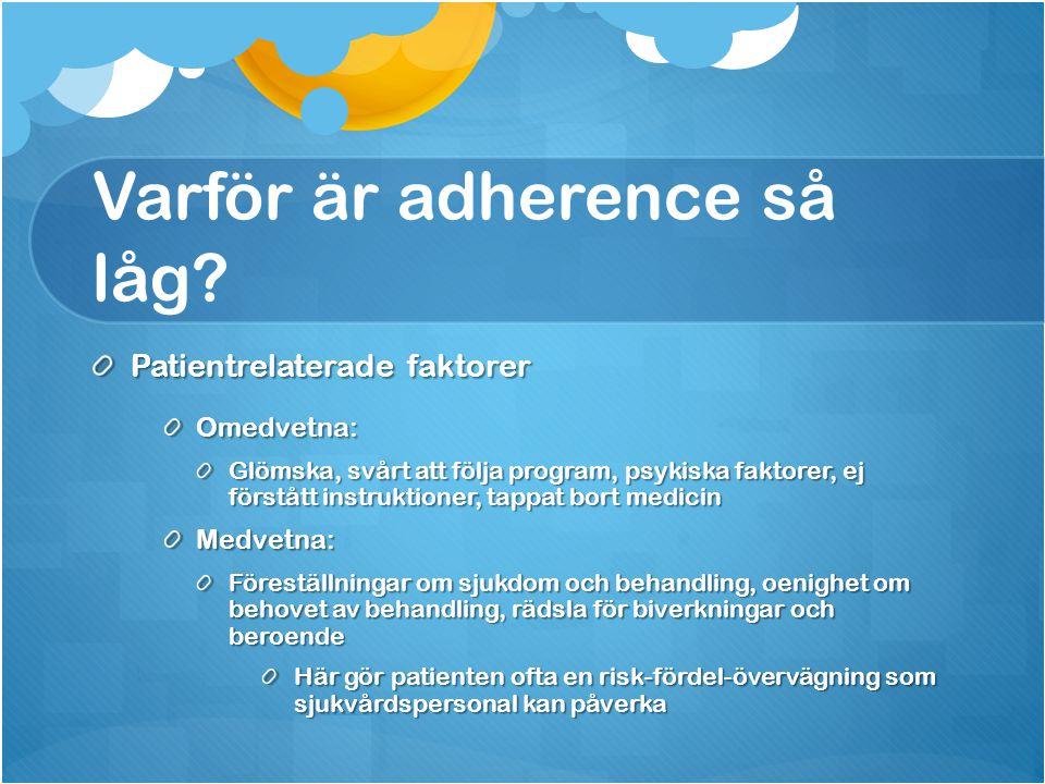 Varför är adherence så låg? Patientrelaterade faktorer Omedvetna: Glömska, svårt att följa program, psykiska faktorer, ej förstått instruktioner, tapp