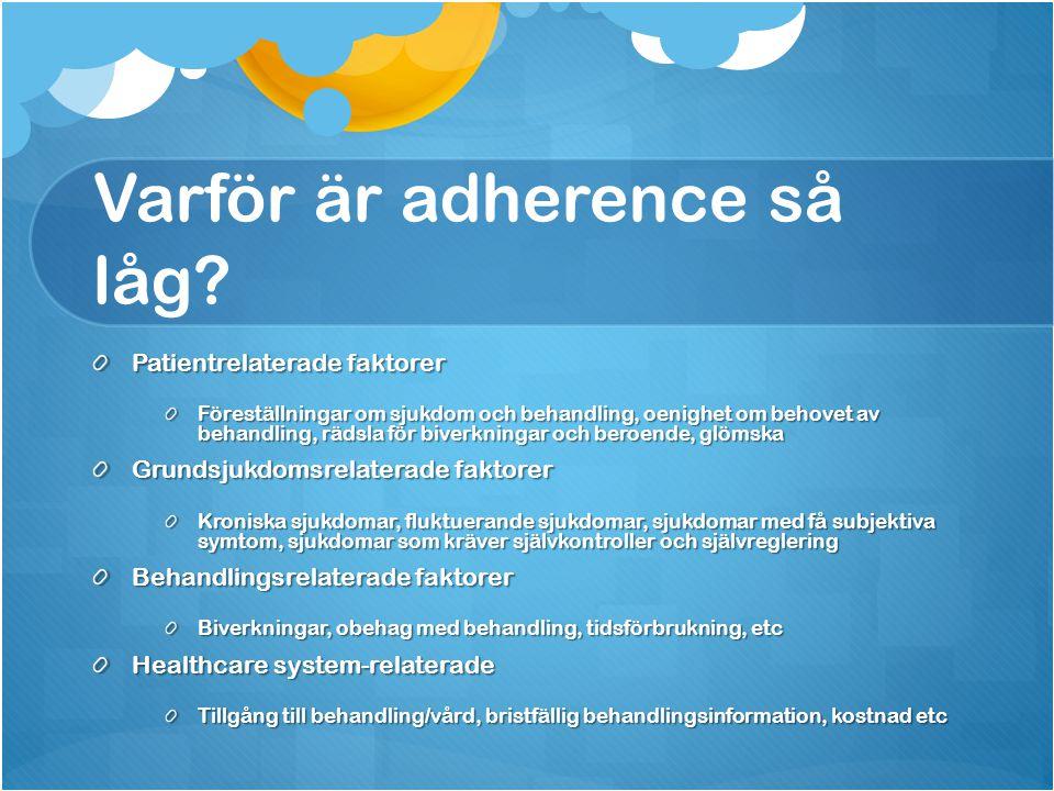Varför är adherence så låg? Patientrelaterade faktorer Föreställningar om sjukdom och behandling, oenighet om behovet av behandling, rädsla för biverk